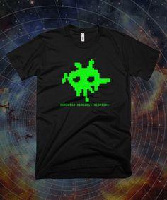 8-Bit Flying Spaghetti Monster (FSM) t Shirt - Shirt Pastafarian, binäre t Shirt, Space Invaders Stil, Unisex, Jugend, 100 % Baumwolle/Triblend