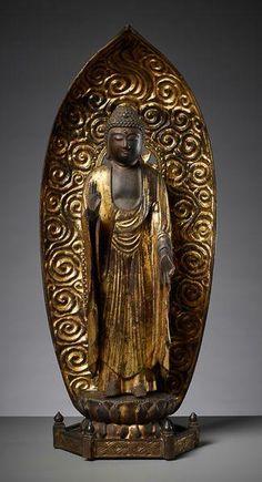 "AMIDA BUTSU (BUDDAH AMUTABHA) - Holz und Vergoldung. Japan, späte Edo-Epoche (1600[...], mis en vente lors de la vente ""Art d'Asie"" à Galerie Zacke   Auction.fr"