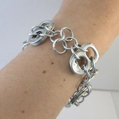 pop tab bracelet pop tabs linked with 4 leave clover Soda Tab Crafts, Can Tab Crafts, Aluminum Can Crafts, Beaded Jewelry, Jewelry Box, Jewelry Bracelets, Jewelery, Recycled Jewelry, Handmade Jewelry