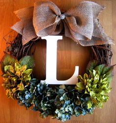 Fall Wreath, Grapevine Wreath with Monogram, Hydrangea Wreath, Initial Wreath, Wreath for Door, Fall wreath, Burlap Wreath, Grapevine Wreath on Etsy, $50.00