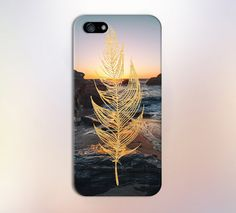 Gold Leaf x Rocky Ocean Sunset Design Case for iPhone 6 6 Plus iPhone 5 5s 5c 4 4s Samsung Galaxy s6 s5 s4 & s3 and Note 5 4 3 2
