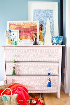 DIY Bone Inlay Stenciled Dresser
