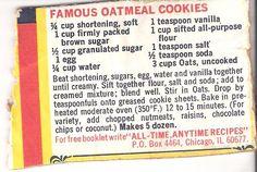 Calories in quaker oatmeal cookies recipe