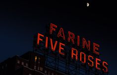 Moon over Farine Five Roses sign Shoot The Moon, Of Montreal, Belle Villa, Framed Prints, Canvas Prints, New Art, Fine Art America, Roses, Rose
