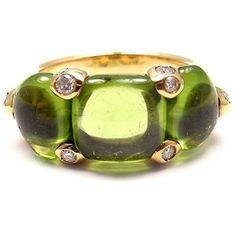 Pre-owned Pomellato Sassi 18k Yellow Gold Diamond Peridot Ring