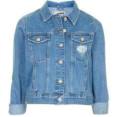 Topshop Moto 'Tilda' Denim Jacket ($75) ❤ liked on Polyvore featuring outerwear, jackets, tops, denim jacket, cotton jean jacket, blue jean jacket, vintage denim jacket and cropped jacket