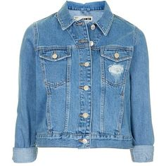 Women's Topshop Moto 'Tilda' Denim Jacket ($75) ❤ liked on Polyvore featuring outerwear, jackets, denim jacket, tops, cropped denim jacket, vintage jackets, blue jean jacket and vintage jean jacket
