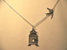 Necklace Bird flying away from Birdcage on by CrystalinasCreations