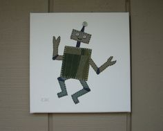 Robot #2 Fabric Wall Art by CottonwoodCove on Etsy
