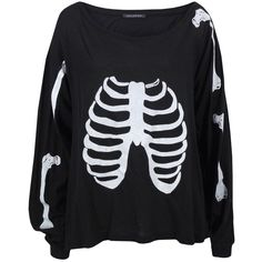 Wild Fox Skeleton Clean Black T-Shirt ($51) ❤ liked on Polyvore featuring tops, sweaters, shirts, jumpers, women, black sweater, cotton sweaters, black jumper, horse sweater i black crop top