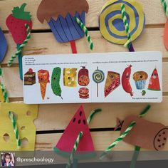 """Our Very Hungry Caterpillar puppets. Made """"caterpillars"""" out of green pipe cleaners to """"eat"""" through the foods and practice fine motor skills. Great book project for home or classroom. #ericcarle #hungrycaterpillar #preschool project #finemotorskills #preschoology"""