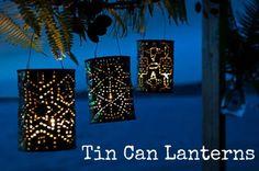 """lantarens van lege blikjes, misschien tóch maar een """"lichtje met batterij"""" er in doen....heeeet!"""