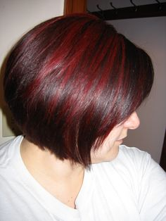 Dark Auburn Hair with Cherry Red Highlights.                                                      Really like the colour combination