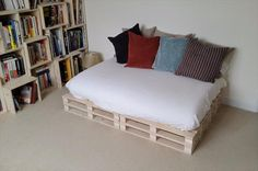 It is also very nice diy wooden pallet sofa bed with cushions which is placed in the room and it is looking so beautiful because the well conditioned pallet wood is used in this wooden idea which makes it more beautiful and gives it perfect look which is already appear from the picture.