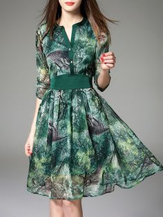 Green Floral Casual A-line Midi Dress