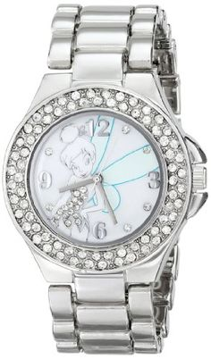Disney Womens TK2031 Tinkerbell MotherofPearl Dial SilverTone Bracelet Watch -- You can find more details by visiting the image link.Note:It is affiliate link to Amazon.