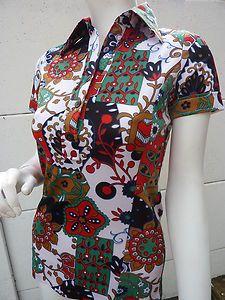 HAUT TOP T shirt Vintage vtg 70 seventies Hippie psychédélique TAILLE 36