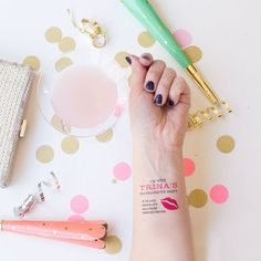cute bachelorette party idea! temporary tattoos for if anyone has a little too much fun and wanders off ;-)
