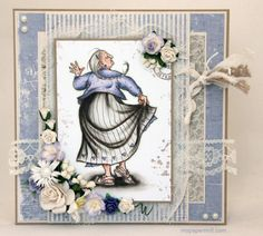 80th birthday card. Mo Manning image colored with Copics. PP by Maja Design