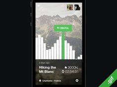 Hikking App concept by Ludovic Riffault Mobile Web Design, App Ui Design, Chart Design, User Interface Design, Ui Animation, Apps, Application Design, Ios 7, Screen Design