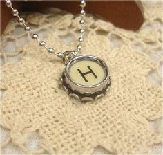 Letter H  Typewriter Key Pendant Necklace  Silver Rim by XBoutique, $16.99
