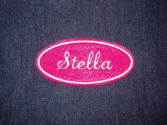 Oval Name Patch  hot pink with white embroidery by lizmiera, $3.75