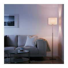ALÄNG Floor lamp, nickel-plated, white - nickel-plated/white