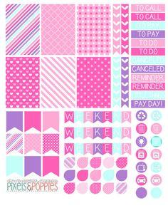73 Girly Theme Stickers Planner Stickers by PixelsAndPoppiesShop