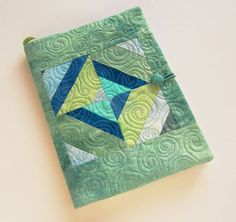 Quilted Journal, Fabric Composition Notebook Cover in Teal, Aqua, Cerulean Blue, and Moss Green - Back to School Fabric Book Covers, Fabric Books, Cute Sewing Projects, Sewing Kits, Composition Notebook Covers, Memory Journal, Teal Fabric, Fabric Journals, Ribbon Bookmarks