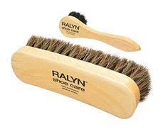Shoe Shine Brush with Shoe Dauber. Dark Bristles. 100% Ho...