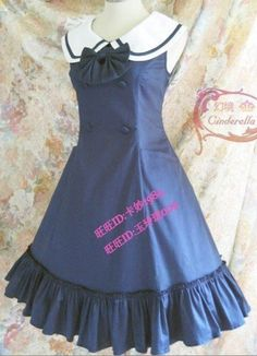 College Style Royal Blue Lolita Jumper Dress