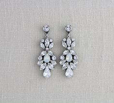 a188624b6 Crystal Bridal earrings Swarovski Wedding earrings Bridal jewelry White  opal earrings Chandelier earrings Statement earrings Vintage