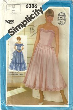 Simplicity 6386 Vintage Misses Prom Dress Sewing by ClassyPatterns, $14.50