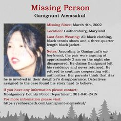 Ganignunt's ex says she left the house and never returned, but does he know more than he is saying? Missing Loved Ones, Missing Persons, Gaithersburg Maryland, Amber Alert, Bring Them Home, Cold Case, Men Quotes, Ex Boyfriend, True Crime