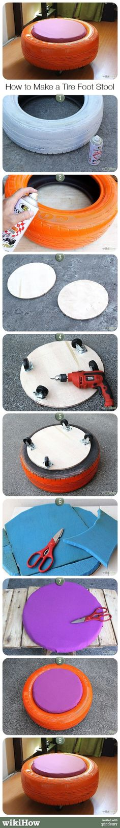 How to Make a Tire Foot Stool this would be great for out side or in the garage!