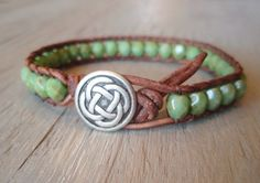 Green beaded leather wrap bracelet - Celtic Pride- brown leather  czech glass single wrap bracelet green turquoise, rustic bohemian