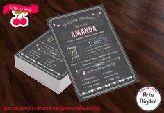 Convite Chalkboard Chá de Fralda | Cherry Arte | Elo7