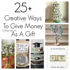 This roundup shows you how to give money as a gift in a fun and creative way. Here are ideas on different ways to give the gift of money notes and even quarters. Giving money to graduates and t… Birthday Money Gifts, Graduation Gifts, Gift Money, Graduation Ideas, Money Gifting, Money Lei, College Graduation, Birthday Cards, Money Balloon