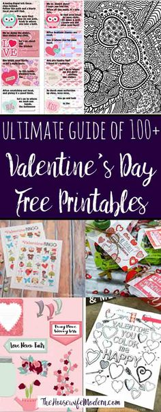 Ultimate List of Valentine's Day Free Printables. Roundup of more than 100 Valentine's Day Free Printables: planners, coloring pages, decor, activities, gifts, and more.