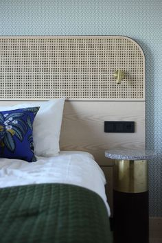 Bed headboard by Brown Design Group, Los Angeles + Santa Barbara.