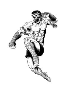 Alfa img - Showing > Muay Thai Drawing                              … Muay Thai Martial Arts, Mixed Martial Arts, Material Arts, Kick Boxing, Guerrero Tattoo, Boxe Mma, Mma Academy, Muay Thai Tattoo, Boxing Tattoos