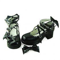 Handmade Black PU Leather 4.5cm High Heel Casual Lolita Shoes&n #Lolita Shoes