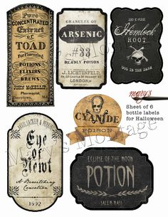 Etiquetas de botellas de Halloween, descargar e imprimir. Halloween Vintage, Soirée Halloween, Halloween Potions, Halloween Projects, Holidays Halloween, Halloween Decorations, Halloween Printable, Halloween Pumpkins, Halloween Fireplace