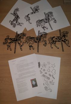 Papercut Template Set  3 Carousel Horses by JuicyRainbowCrafts