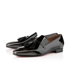 James Men's Flat Black Patent Leather, Christian Louboutin