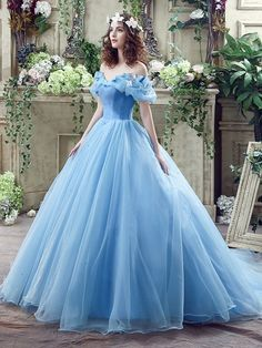 2016 Cinderella Graceful Ocean Blue Tulle Ball Gown Quinceanera Dresses Off Shoulder Butterflies Beaded Floor Length Prom Gowns Blue Ball Gowns, Ball Gowns Prom, Ball Gown Dresses, Maxi Dresses, Ball Gowns Evening, Blue Gown, Dresses 2016, Dresses Online, Dress Outfits