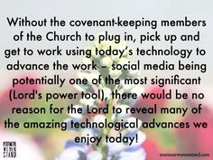 """MWS founder, Kathryn Skaggs, in an address at the 2014 BYU Women's Conference encourgaed us, """"to plug in, pick up and get to work using technology"""" to advance the work of the Lord. #MormonWomenStand #SocialMedia #ShareGoodness"""