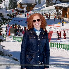 Elaine swishes and swooshes in the Swiss Alps wearing her new designer sunglasses by Matsuda.  Eye Candy fashion eyewear gets you rocking in the sun or six 12 inches of fresh powder!  Be who you want to be at Eye Candy Optical! info@eye-candy-optical.com www.eye-candy-optical.com - Book your Eye Exam Today! (440) 250-9191