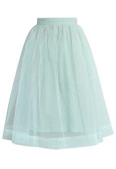 Mint Organza Midi Skirt - Skirt - Bottoms - Retro, Indie and Unique Fashion