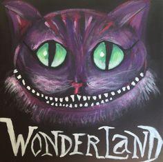 Chat wonderland Tableau toile. Peinture acrylique 30x30